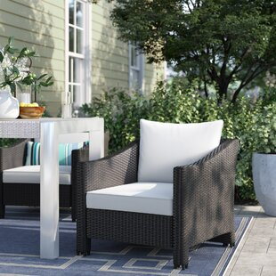 Bearden Wicker Patio Chair with Cushions (Set of 2)