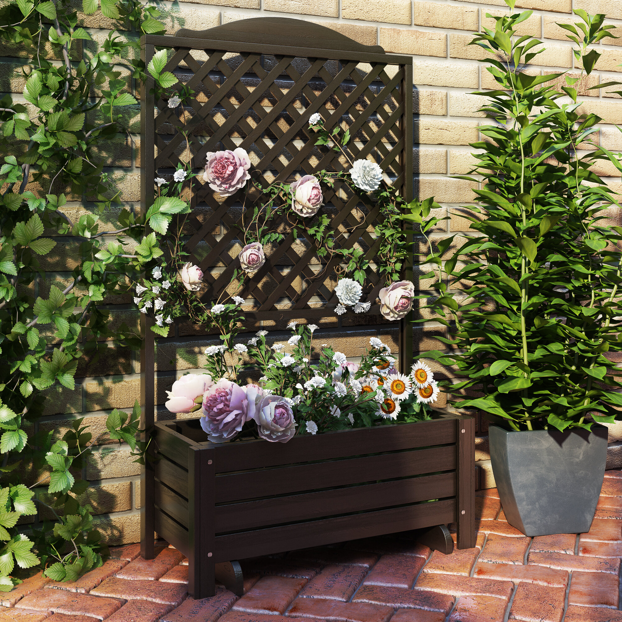 Dcor Design Romantica Wooden Planter Box With Trellis Wayfair Co Uk