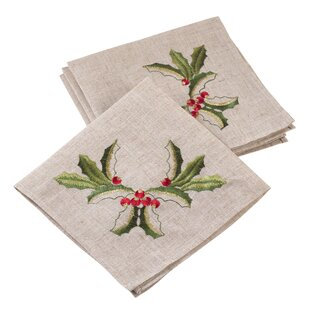 Embroidered Holly Christmas Napkin (Set of 4)