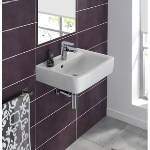 Comparison Renova Ceramic 20 Wall Mount Bathroom Sink with Overflow By Bissonnet