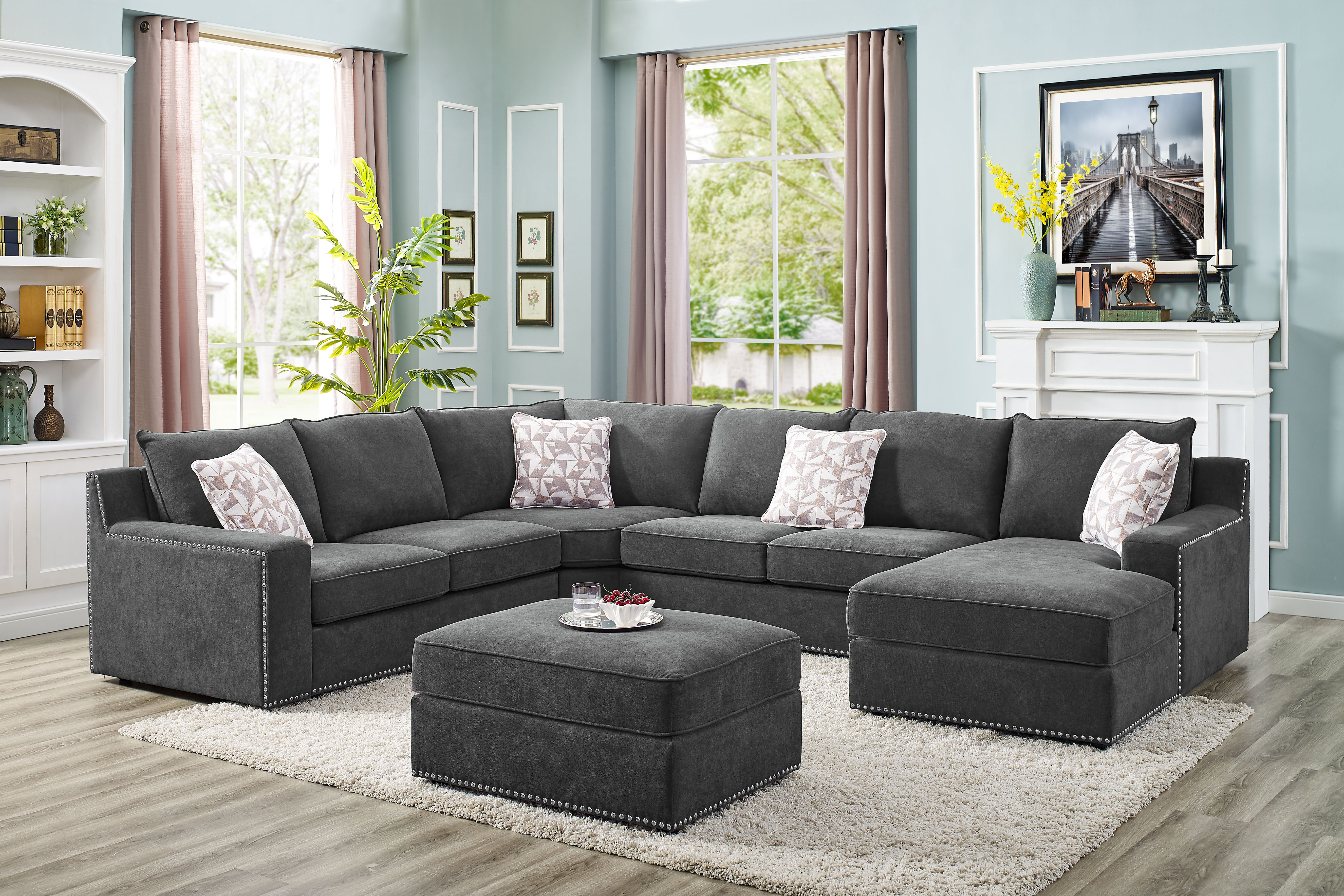 Makah 5 Seater Right Hand Facing Modular Sectional Sofa With Ottoman