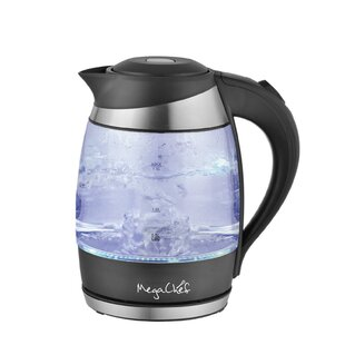 1.9 Qt. Glass and Stainless Steel Electric Tea Kettle