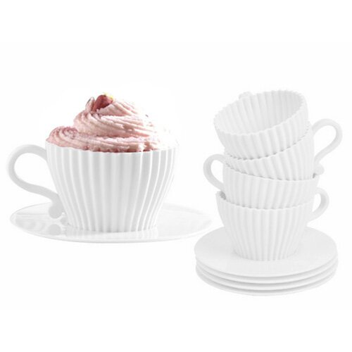 4 Piece Cupcake Pan with Saucer Set