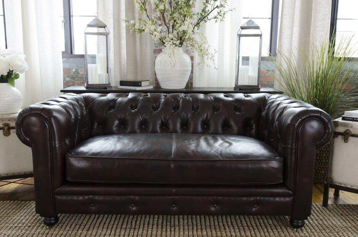 Fiske Leather Chesterfield Sofa