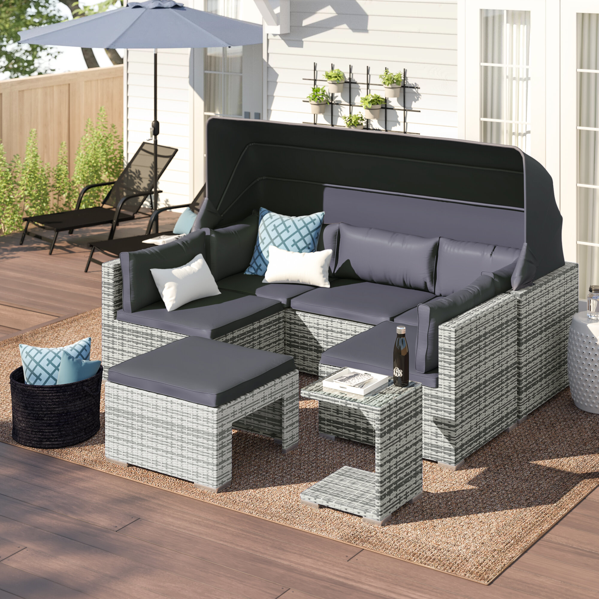 Zipcode Design Sedgwick 5 Piece Rattan Sectional Seating Group With Cushions Reviews Wayfair