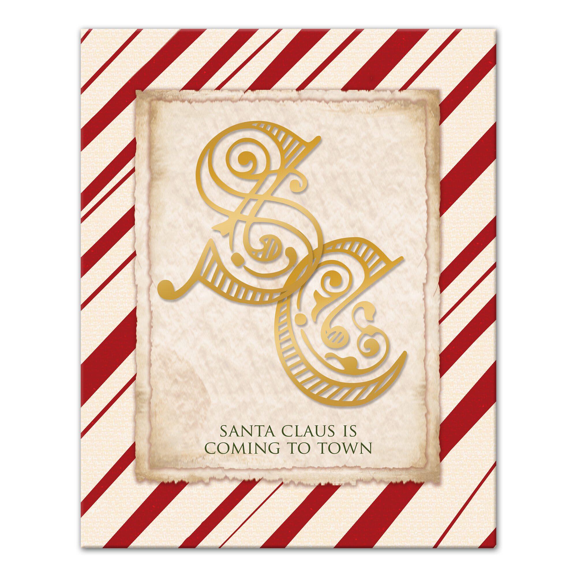 The Holiday Aisle \'Candy Cane Santa Claus Monogram\' Graphic Art ...