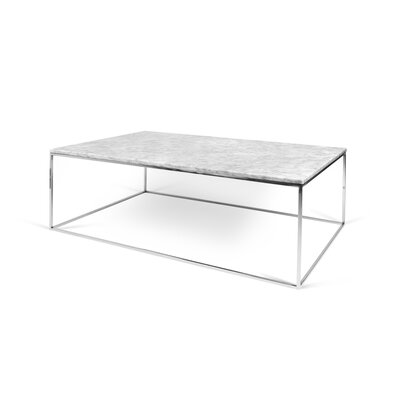 Brayden Studio Soltane Coffee Table Base Color: Chrome, Top Color: White Marble