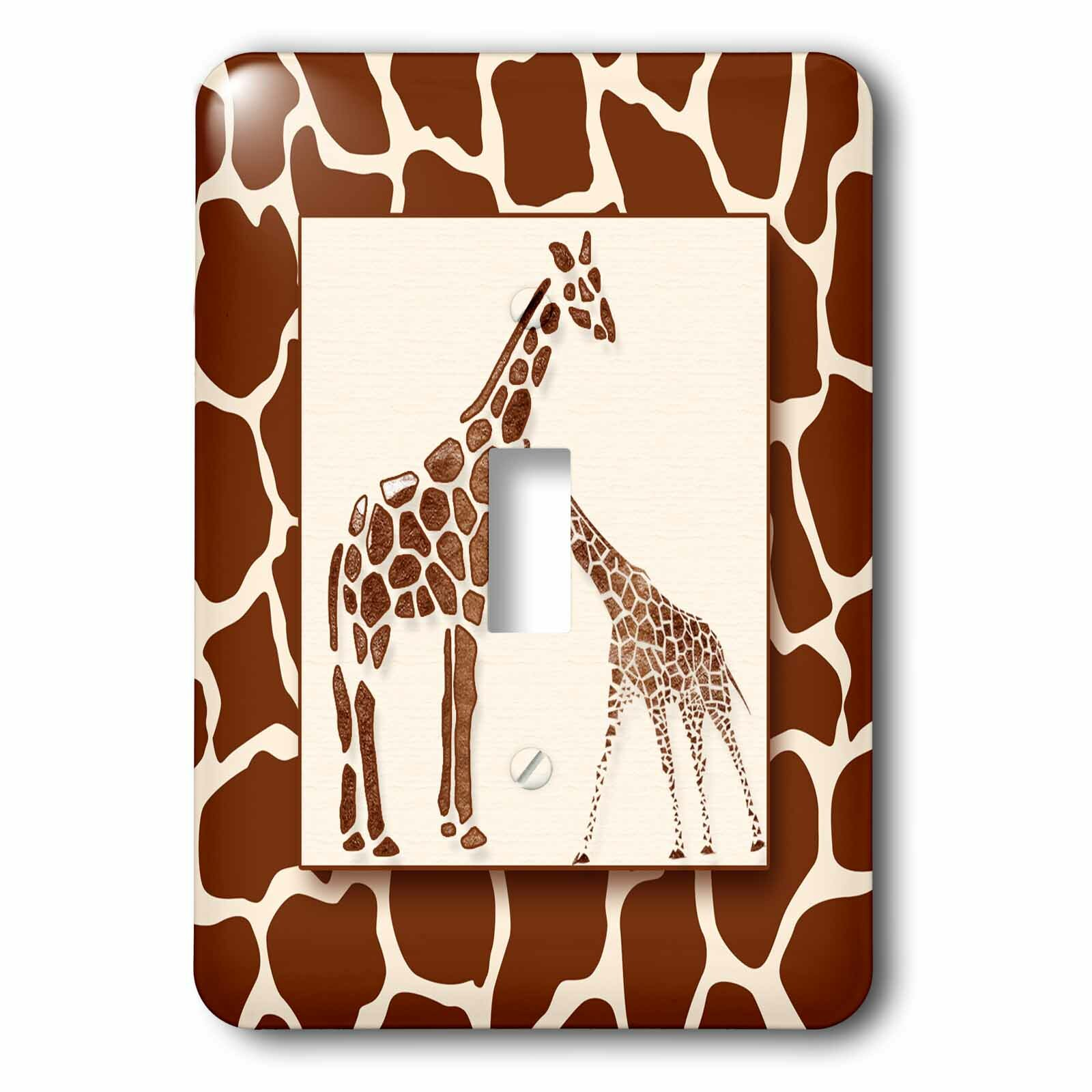 Brown Giraffe Print Animal Decorative Single Toggle Light Switch Plate Cover Handmade Products Home Kitchen