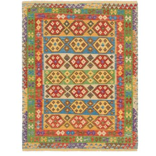 Best One-of-a-Kind Doorfield Hand-Knotted 4'10 x 6'6 Wool Green/Brown/Yellow Area Rug By Isabelline