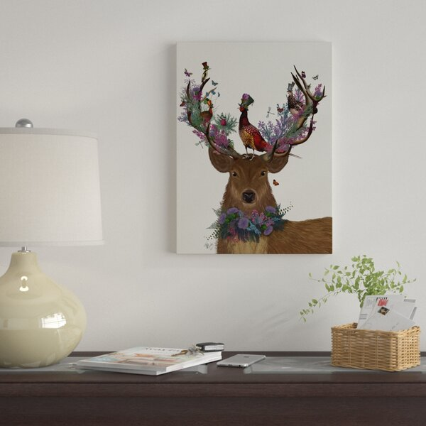 Scottish Highland Wall Art Brown Green Grey Cow Stag Canvas Picture Print