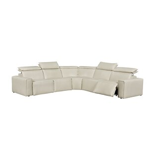 Orren Ellis Santillo Leather Reclining Sectional