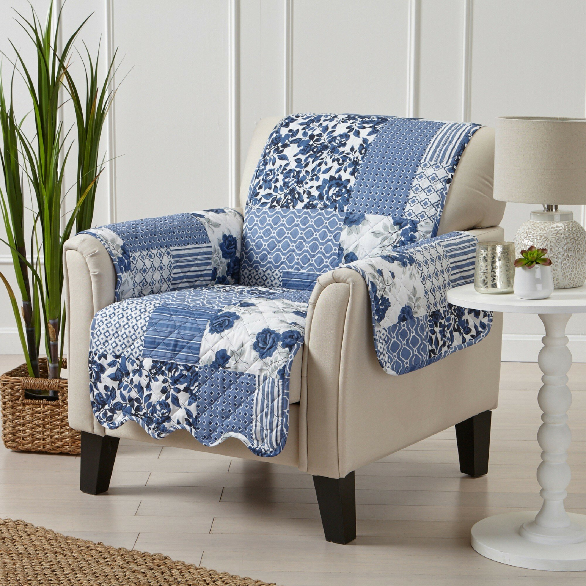 Patchwork Scalloped Printed Box Cushion Armchair Slipcover