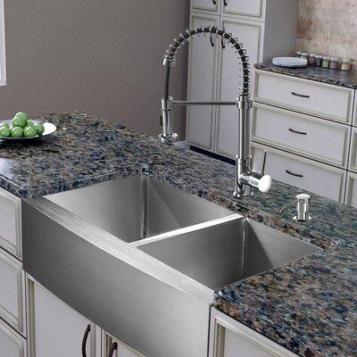 all in one 36   x 22   double basin farmhouse apron kitchen sink with faucet vigo all in one 36   x 22   double basin farmhouse apron kitchen      rh   wayfair com