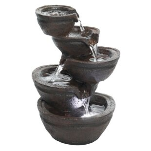 Kleiman Resin Tiering Bowls Tabletop Fountain with Light
