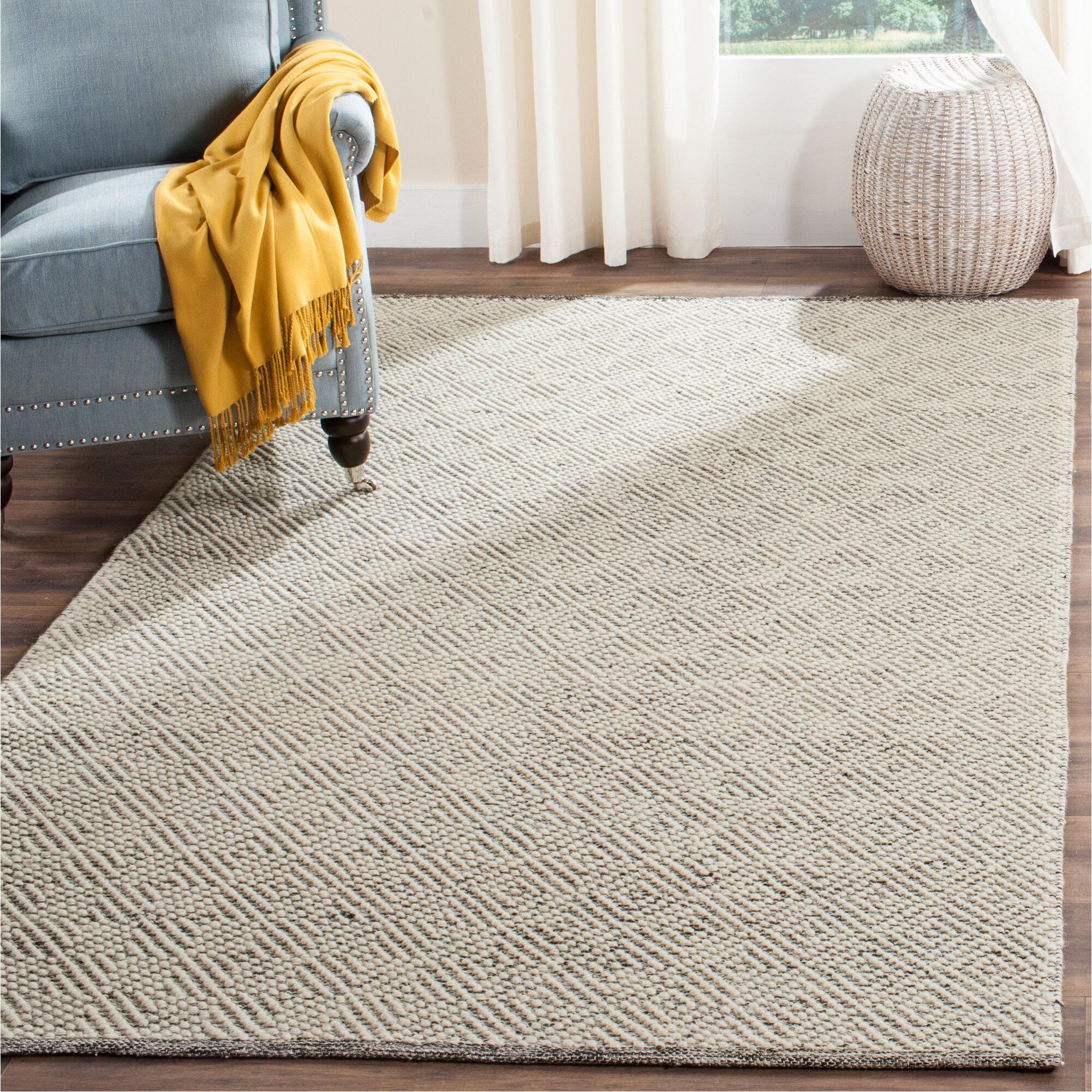 Dakota Fields Alayna Hand Tufted Wool Cotton Ivory Light Grey Area Rug Reviews Wayfair Ca