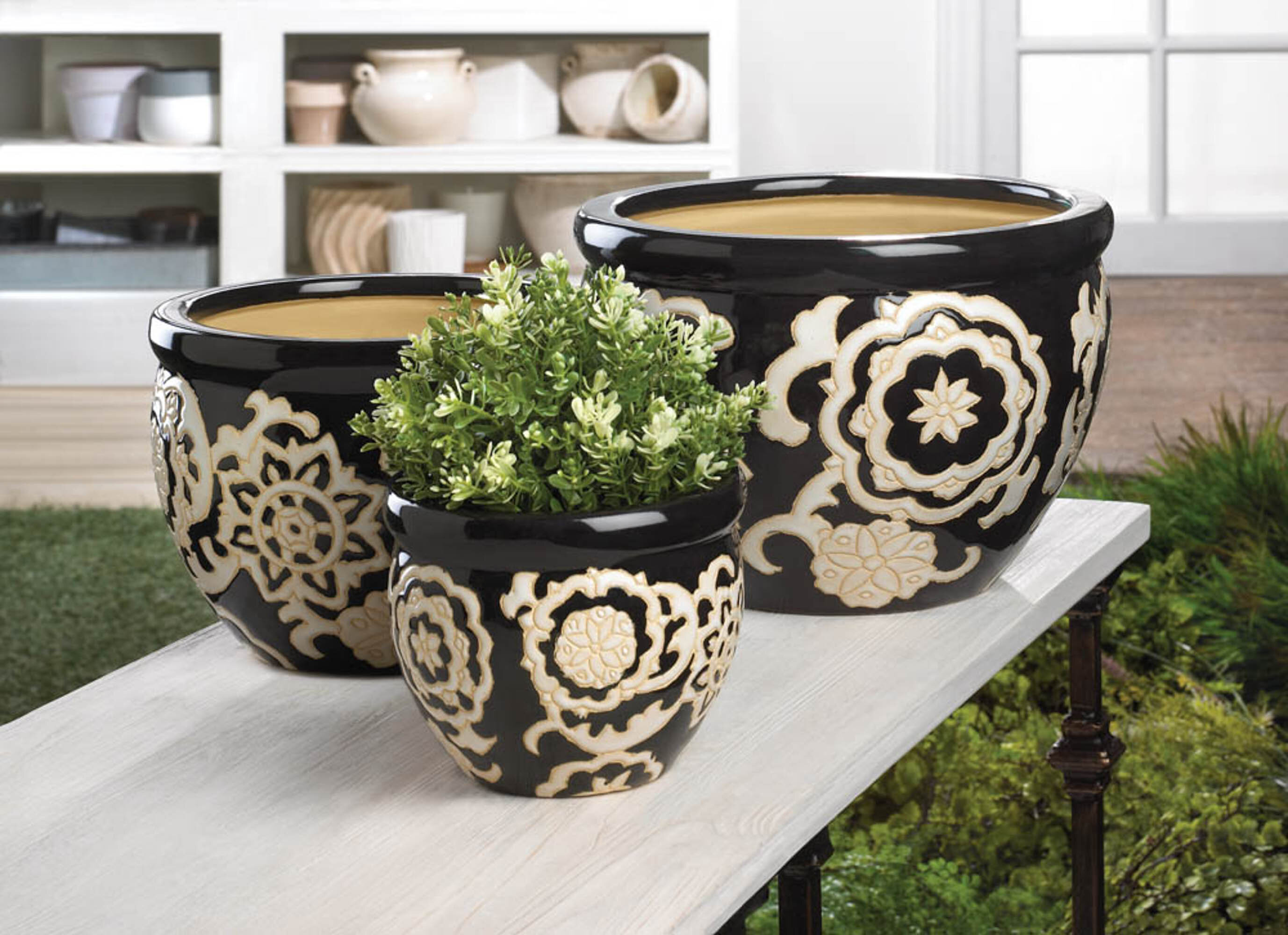 World Menagerie Hickok 3 Piece Ceramic Pot Planter Set Reviews Wayfair
