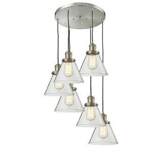 Lindsley Glass Cone 6-Light Pendant by 17 Stories