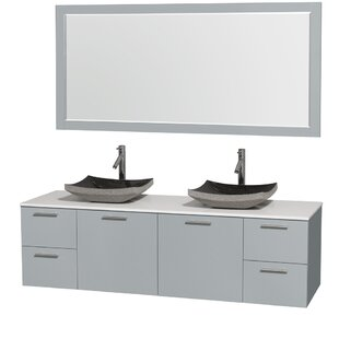 Amare 72 Double Dove Gray Bathroom Vanity Set with Mirror by Wyndham Collection