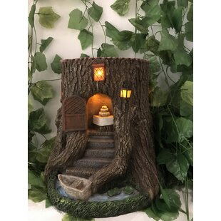 Tree Stump House with Stairs Boat and Lights Fairy Garden by Hi-Line Gift Ltd.