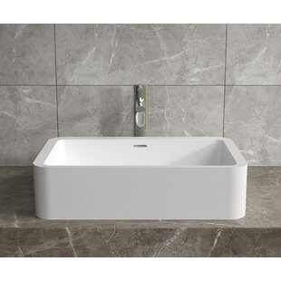 InFurniture Stone Rectangular Vessel Bathroom Sink with Overflow