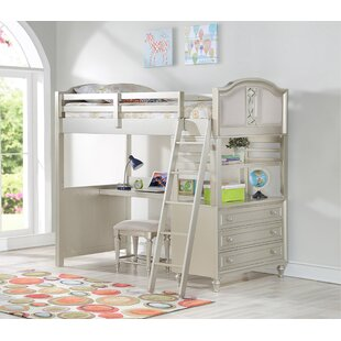 Anette Loft Bed with Drawers, Bookcase and Desk