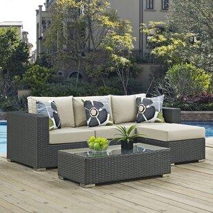 Tripp 3 Piece Sunbrella Sofa Set with Cushions