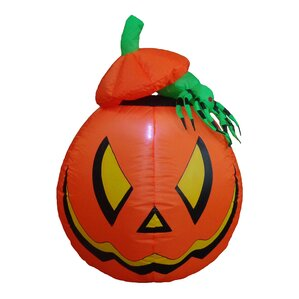 lighted halloween inflatable pumpkin with spider indooroutdoor decoration