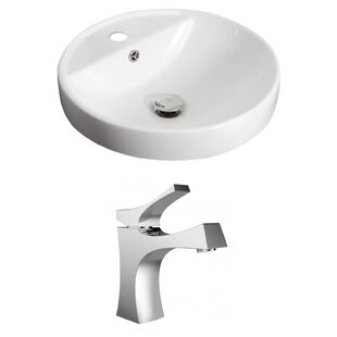 American Imaginations Ceramic Circular Drop-In Bathroom Sink with Faucet a..