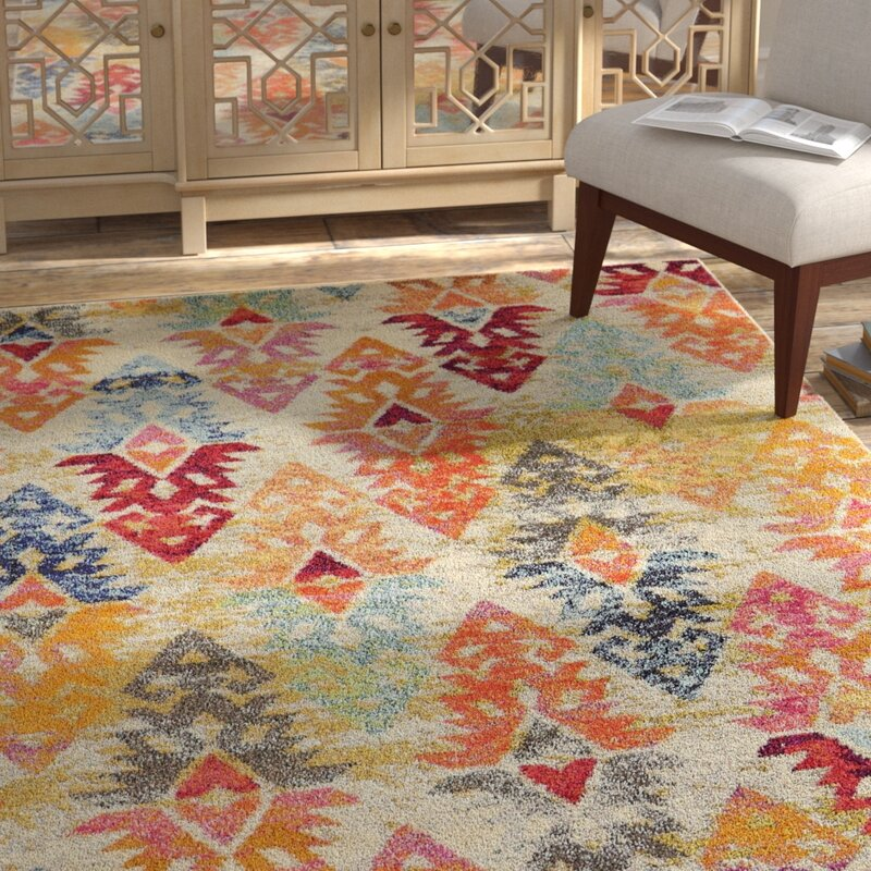 Bungalow Rose Ariyah Polypropylene Grey Orange Area Rug