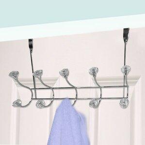 5 Hooks Over Door Crystal Coat Rack