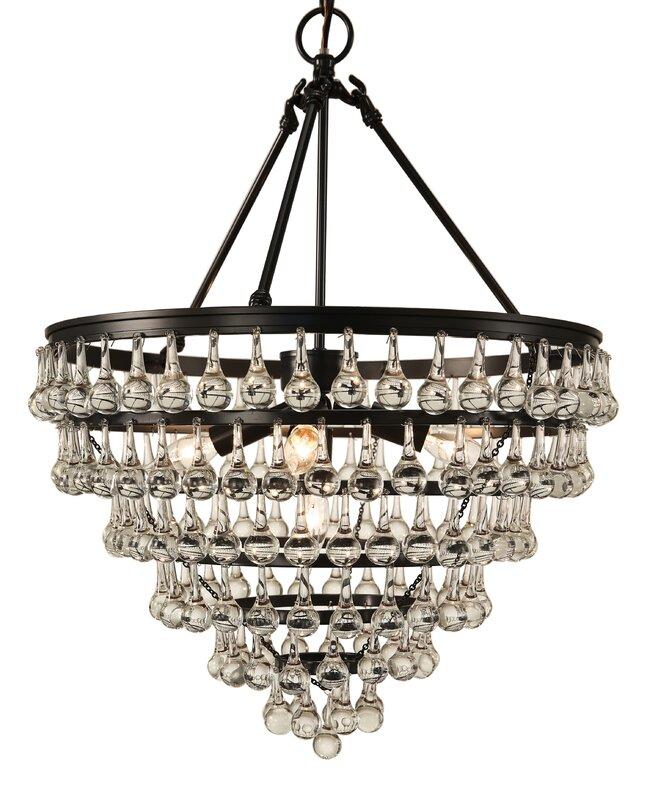 Elco tear drop 5 light crystal chandelier