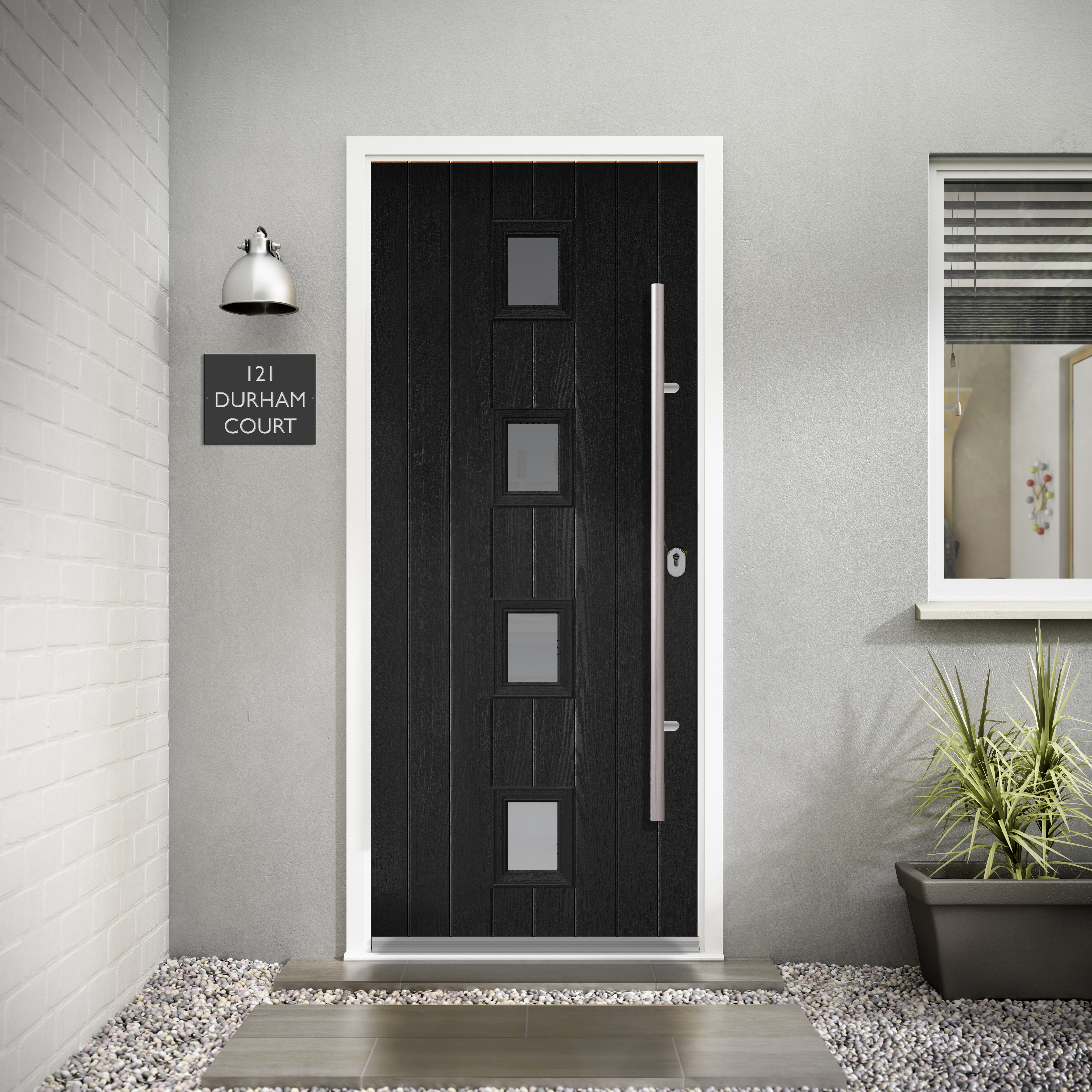 External Doors Front Doors Composite Doors Youll Love Wayfair - Grey-exterior-doors