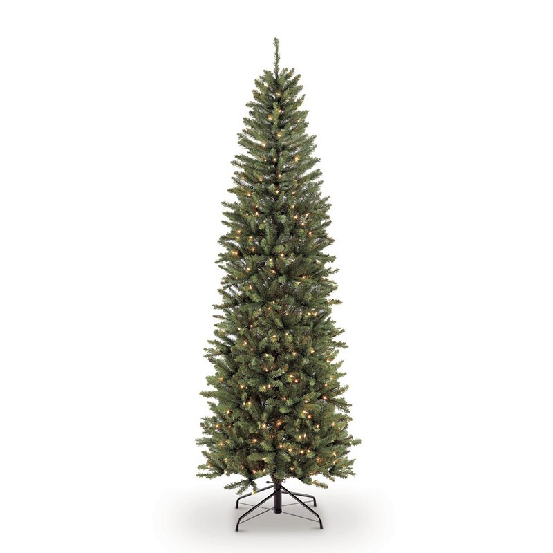71ccef9c2c7a8 The Holiday Aisle Pre-lit Fraser Pencil 4.5  Green Fir Artificial Christmas  Tree with 150 Clear Lights with Stand   Reviews