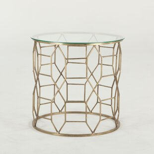 Mirabelle Hand-Forged Metal and Glass End Table