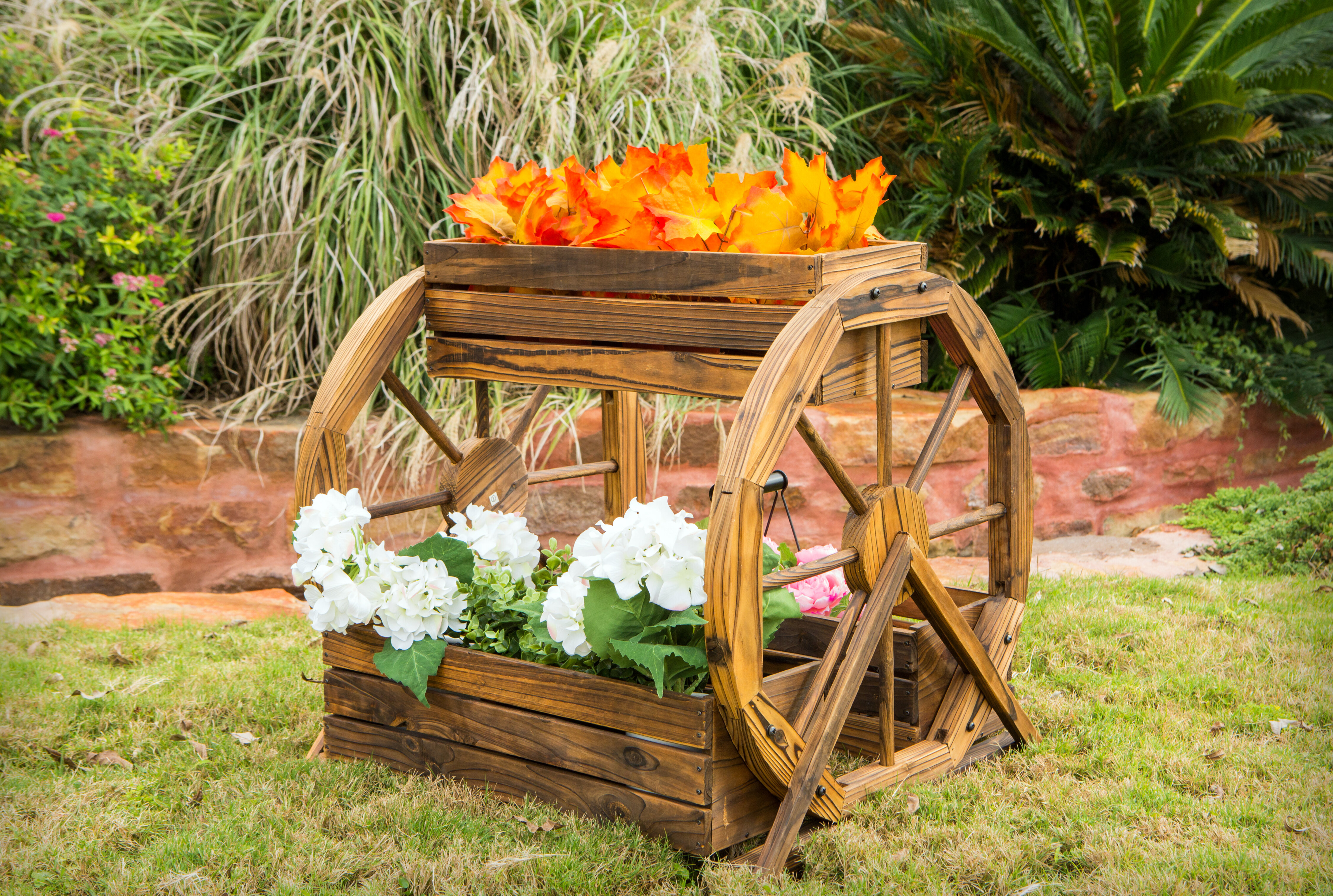 Millwood Pines Aldridge 3 Tier Wagon Wheel Pine Planter Box Wayfair