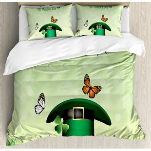 East Urban Home St. Patrick's Day Happy Religious Day Leprechaun Hat on Grass with Butterflies Duvet Set