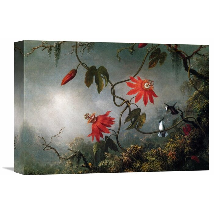 Passion Flowers And Hummingbirds By Martin Johnson Heade Painting Print On Wrapped Canvas