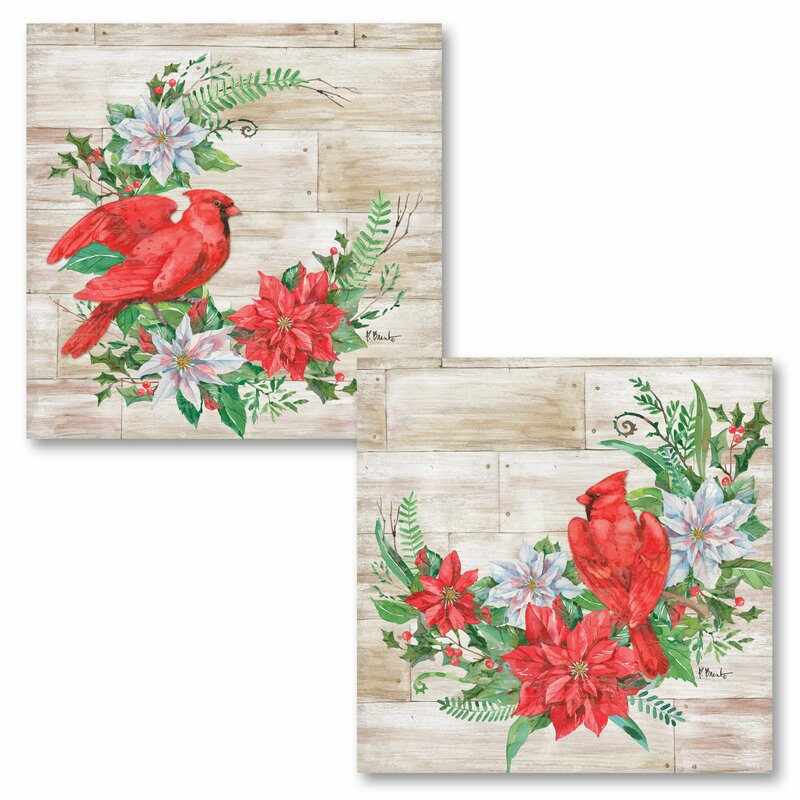 'Holiday Décor Cardinal and Poinsettia Floral' 2 Piece Graphic Art Print Set