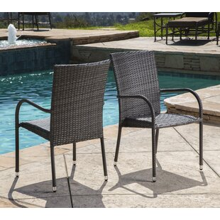 Battista Outdoor Wicker Patio Dining Chair (Set of 2)