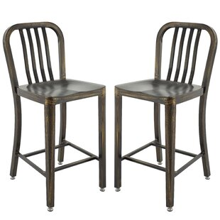 Gracie Oaks Pontius Bar Stool with Back (Set of 2)