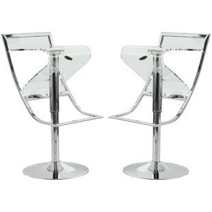 LeisureMod Napoli Adjustable Height Swivel Bar Stool (Set of 2)