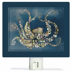 Octopus in the Deep Blue Sea by Eli Halpin Canvas Night Light