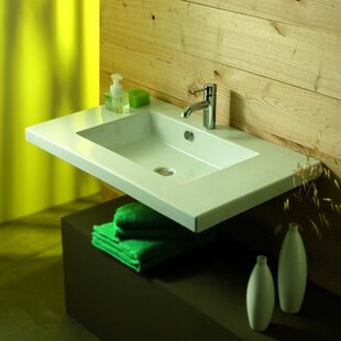 Top Mars Ceramic 36 Wall Mount Bathroom Sink with Overflow By Ceramica Tecla by Nameeks