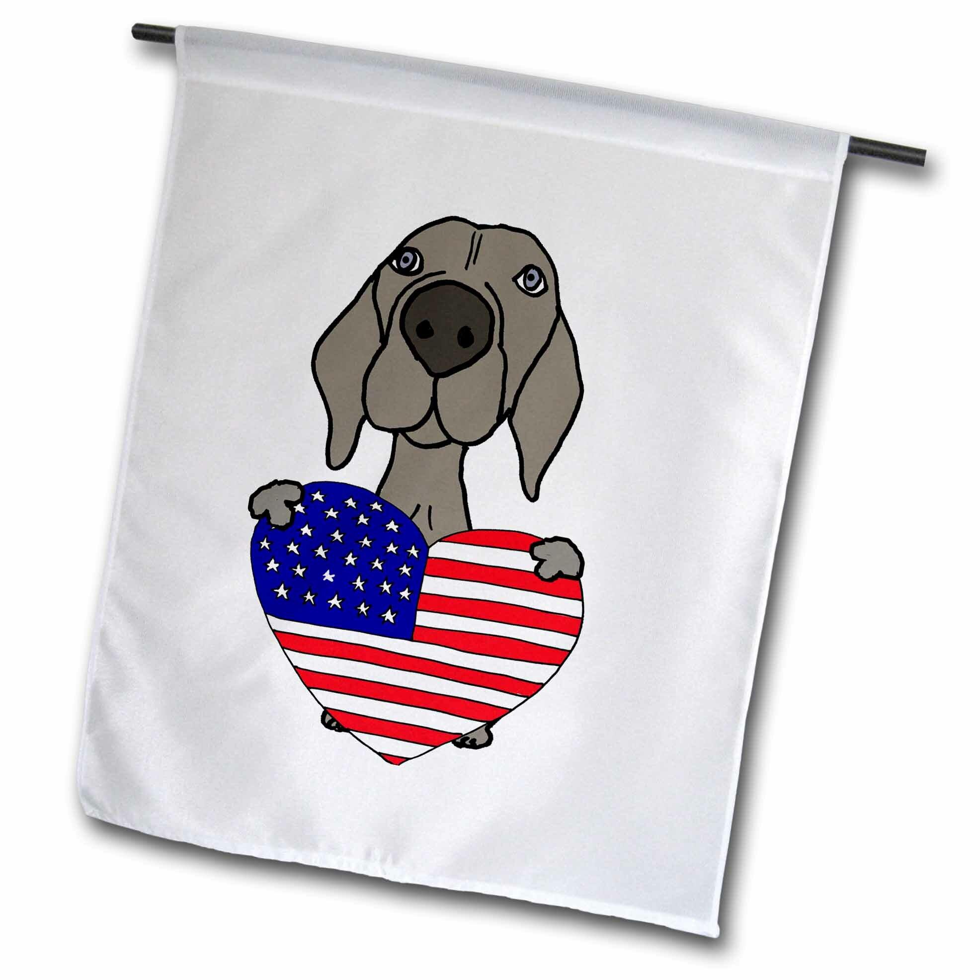 3drose Funny Cute Weimaraner Dog With American Heart Polyester 18 X 12 In Garden Flag Wayfair