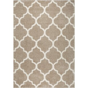 Inexpensive McSpadden Trellis Beige/White Area Rug with Rug Pad By House of Hampton