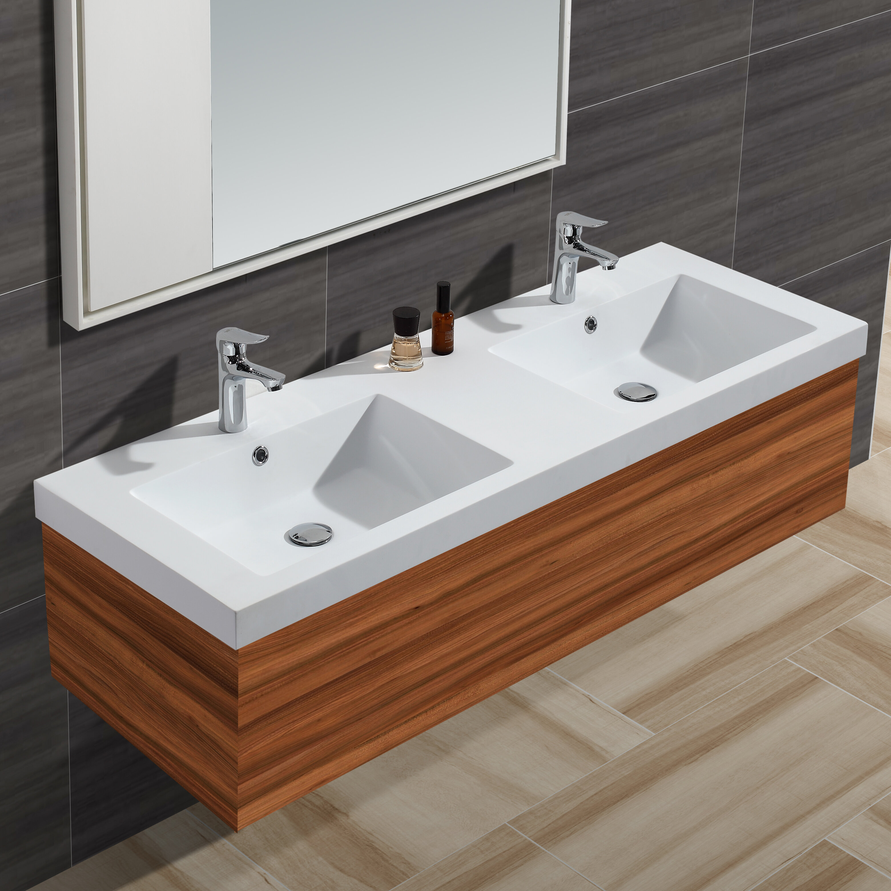 "Diamond Stone Solid Surface 4"" Double Bathroom Vanity Top"