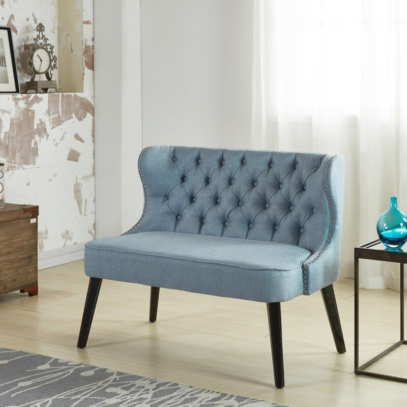 Willa Arlo Interiors Aguayo Tufted Wing Back Settee Bedroom Bench Reviews