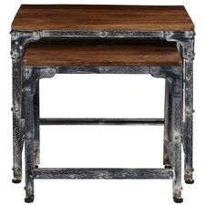 Leeann Distressed Wood and Metal 2 Piece Nesting Tables by 17 Stories