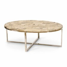 Mosaic Oval Petrified Wood Coffee Table by Palecek