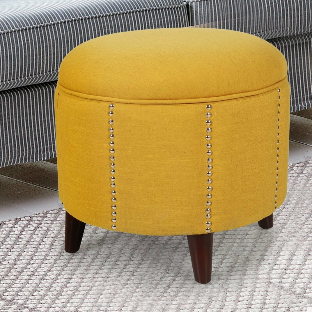 Button Tufted Lift Round Storage Ottoman - AdecoTrading Button Tufted Lift Round Storage Ottoman & Reviews